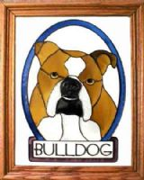 english Bulldog Stained Glass
