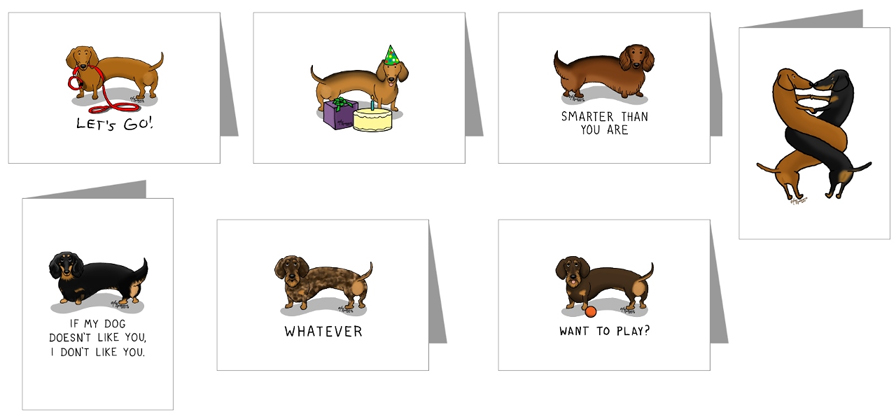 dachshund cartoon cards