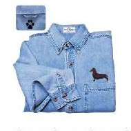 Black Dachshund Denim Shirt