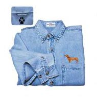 Red Dachshund Denim Shirt