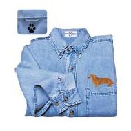 Longhaired Dachshund Denim Shirt