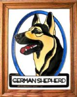 German Shepherd Stained Glass