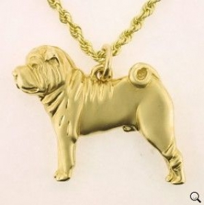 14K gold large standing Chinese Shar-Pei